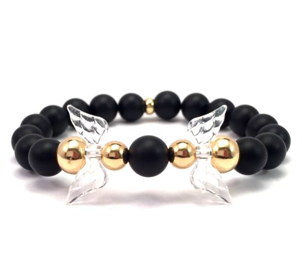 Matte onyx and gold angel bracelet