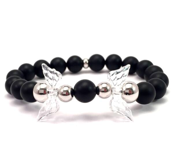 Matte onyx and silver angel bracelet