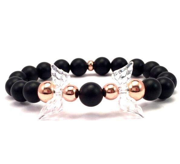 Matte onyx and rosegold angel bracelet