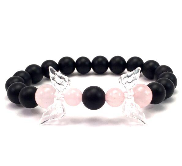 Matte onyx and rose quarcz angel bracelet