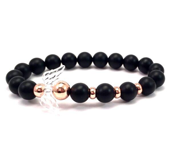 Matte onyx and rosegold angel bracelet 2