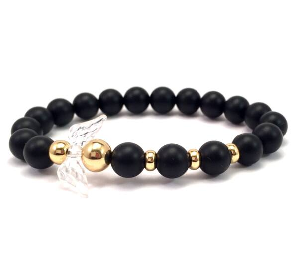 Matte onyx and gold angel bracelet 2
