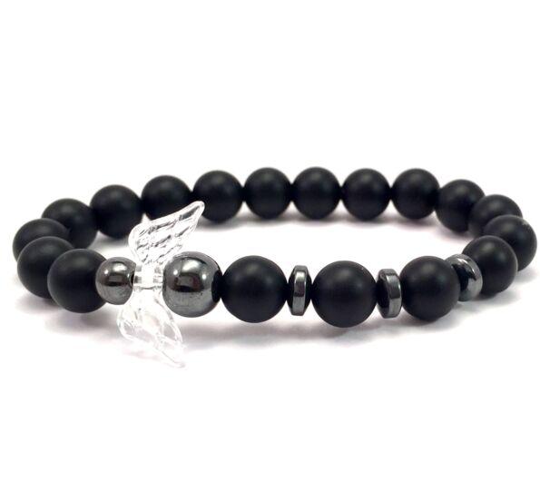 Matte onyx and titan angel bracelet 2