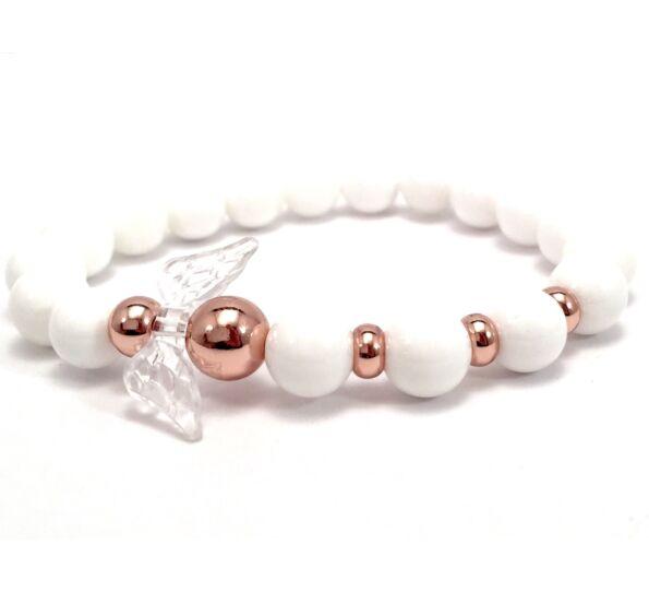 Milk quarcz and rosegold angel bracelet 2
