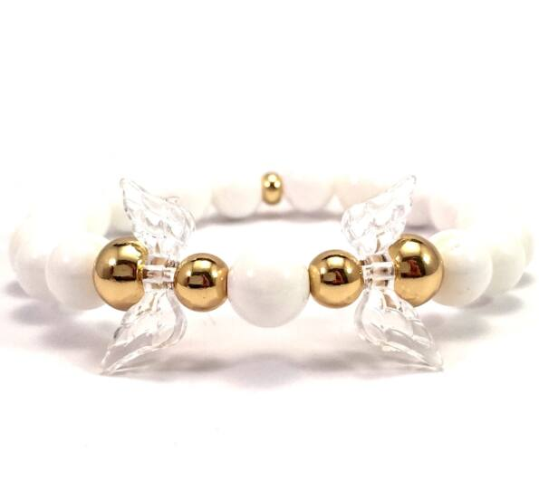 Milk quarcz and gold angel bracelet
