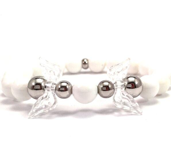 Milk quarcz and silver angel bracelet