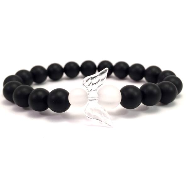 Matte onyx and matte rhinestone angel bracelet 2