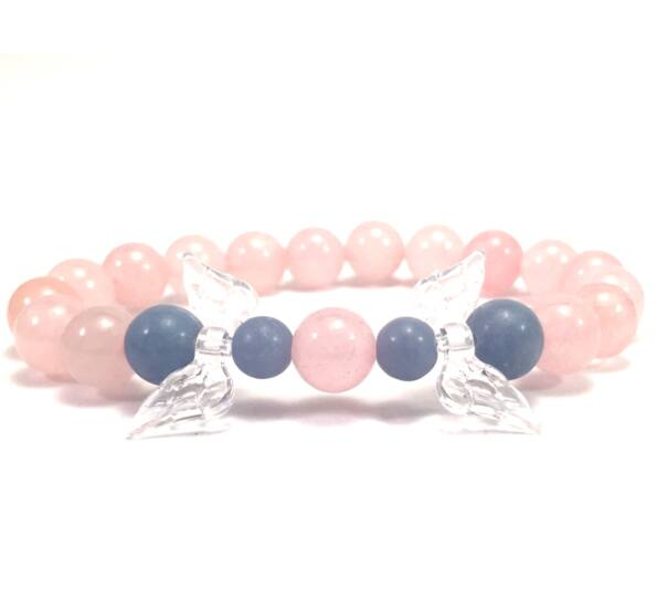 Rosequarcz  and chalcedony 2 angel bracelet