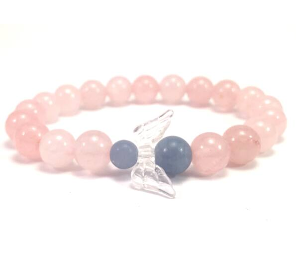 Rosequarcz  and chalcedony  angel bracelet