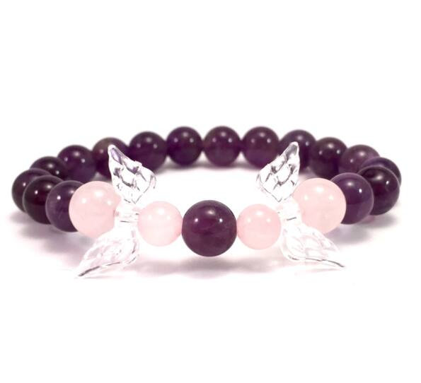 Amethyst and rosequarcz 2 angel bracelet