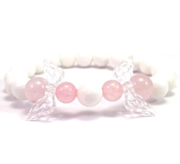 Milkquarcz and rosequarcz 2 angel bracelet