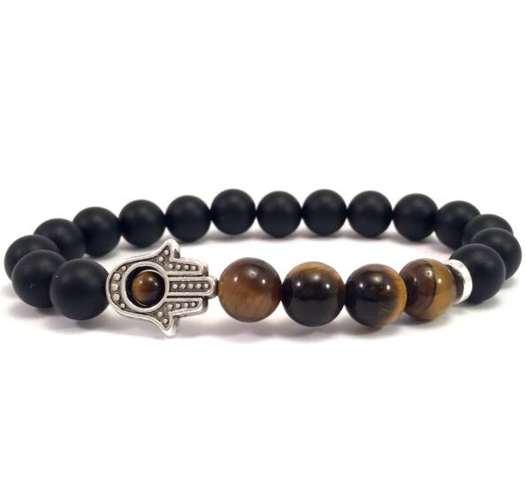 Matte onyx and tiger's eye hamsa bracelet