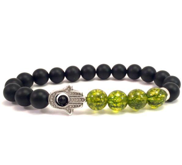 Matte onyx and olivin hamsa bracelet