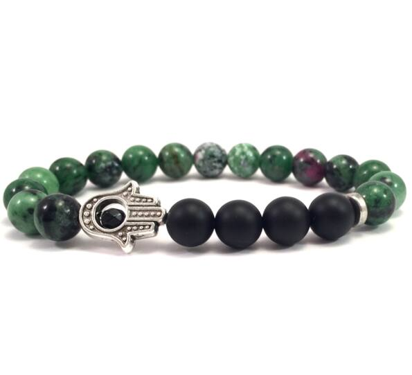 Zoizit and matte onyx hamsa bracelet