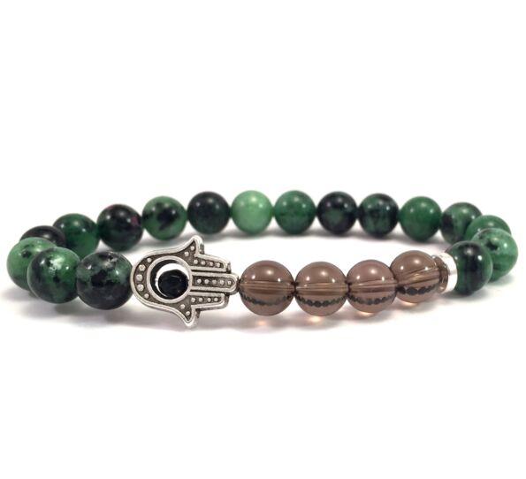 Zoizit and cairngorm hamsa bracelet