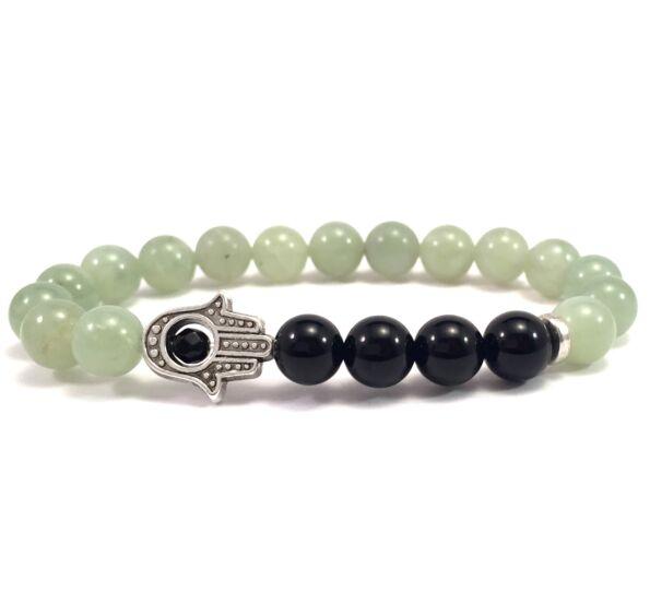 Jade and onyx hamsa bracelet