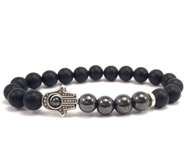 Matte onyx and hematite hamsa bracelet