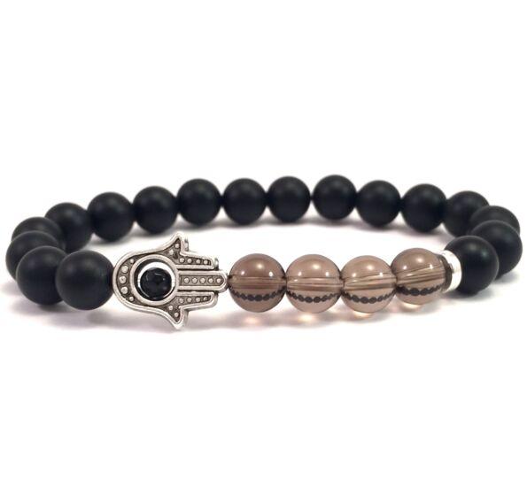 Matte onyx and cairngorm hamsa bracelet