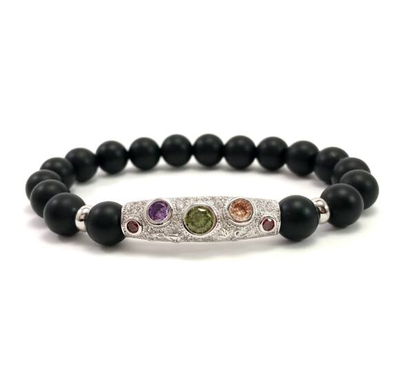 Matte onyx and silver colorful stone bracelet