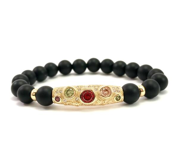 Matte onyx and gold colorful stone bracelet