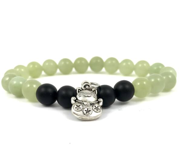 Jade and matte onyx with maneki-neko cat bracelet
