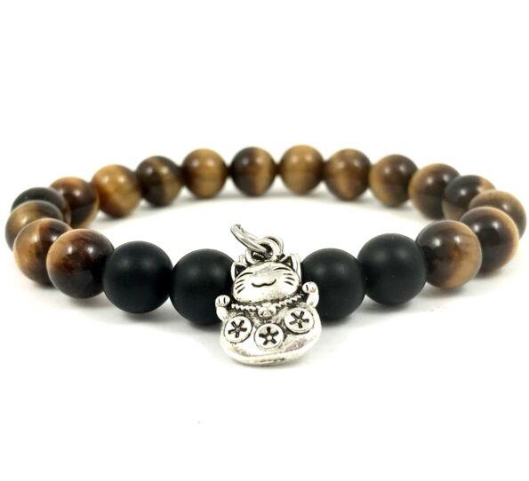 Tiger's eye and matte onyx with maneki-neko cat bracelet