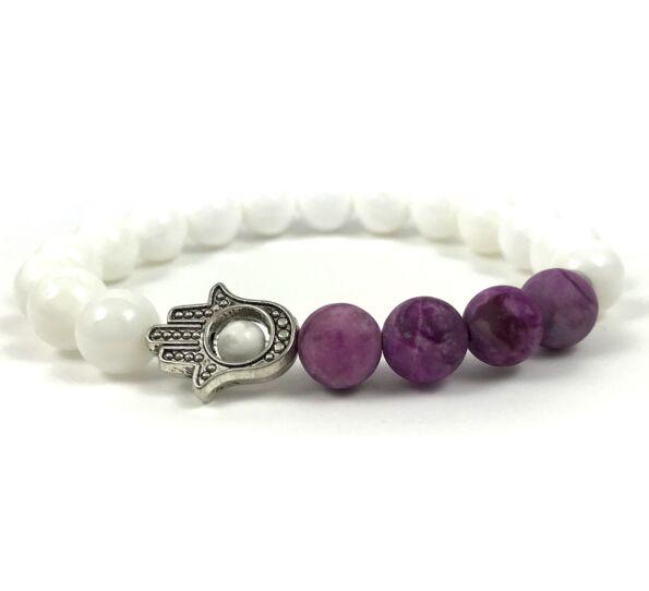 Purple jasper hamsa bracelet