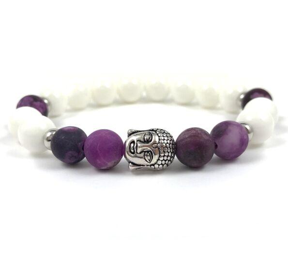 Purple jasper silver buddha bracelet