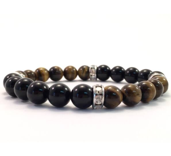 Onix and tigereye quarter bracelet