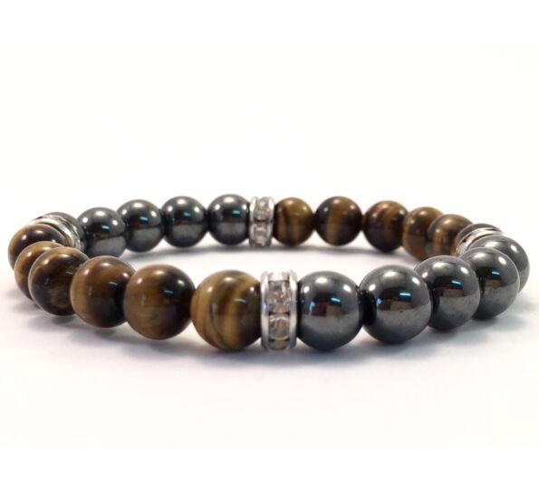 Hematite and tigereye quarter bracelet