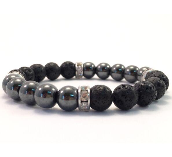 Hematite and lava quarter bracelet