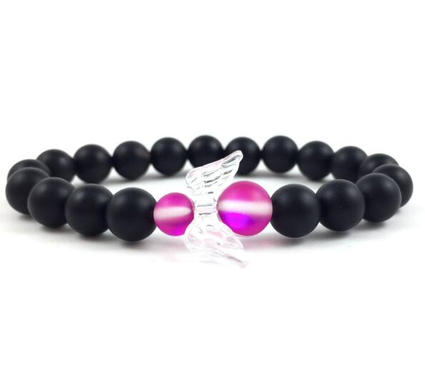 Matte onyx and pink holo angel bracelet 2