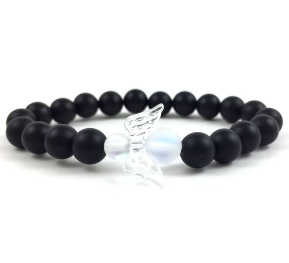 Matte onyx and holo angel bracelet 2