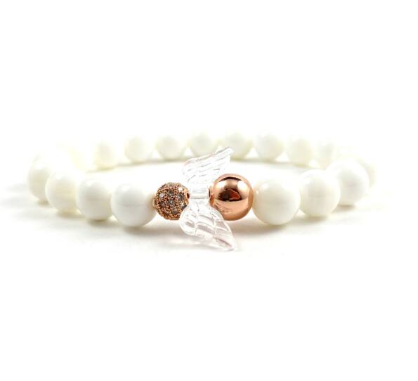 Milk quarcz and rosegold angel bracelet 2