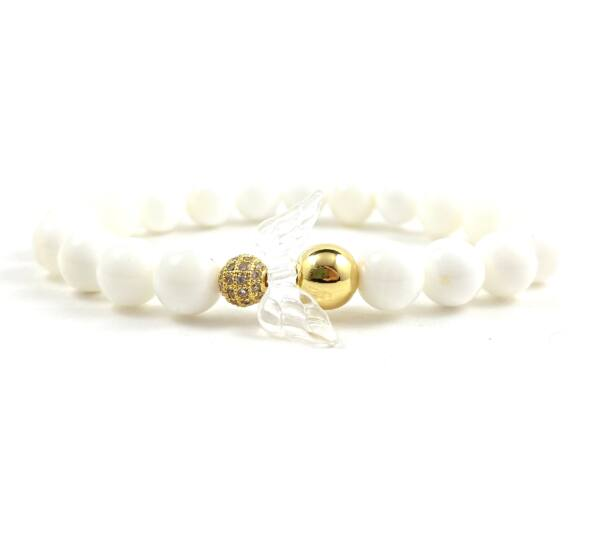 Milk quarcz and gold angel bracelet 2