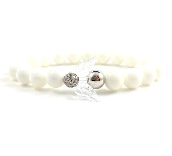 Milk quarcz and silver angel bracelet 2
