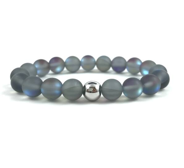 Grey moonstone beats bracelet
