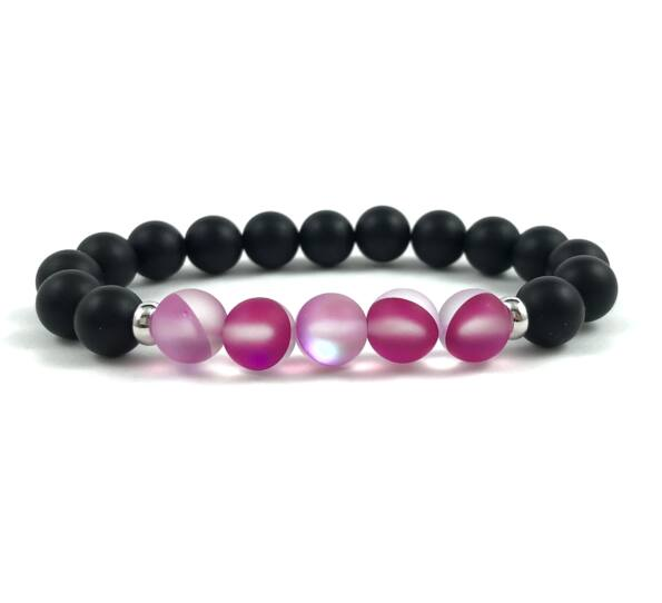 Pink moonstone beats bracelet