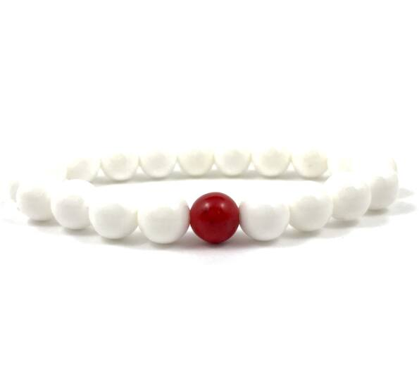 Nacre and corall fleck pearl bracelet