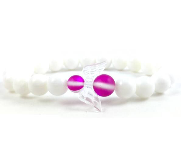 Pink holo angel bracelet 2