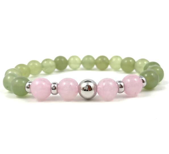 Jade and rosequarcz silver pearl bracelet