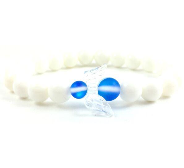 Gyöngyház kék hologram angyalkás karkötő