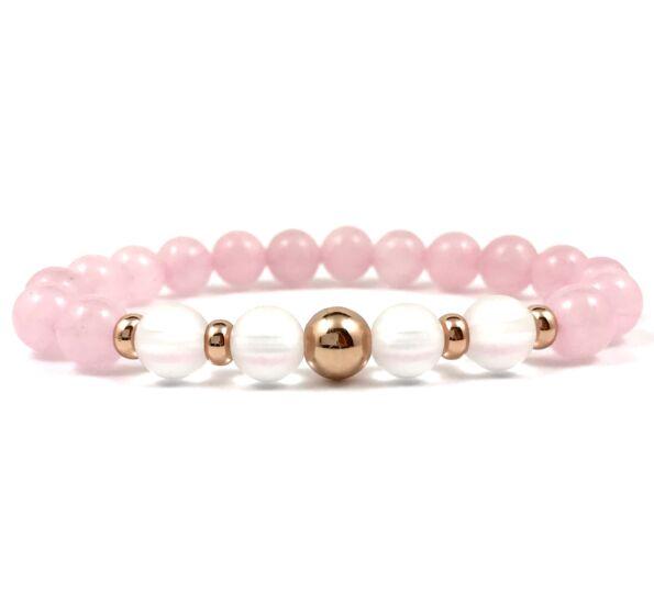 Rosequarcz and matte rhinestone rosegold pearl bracelet