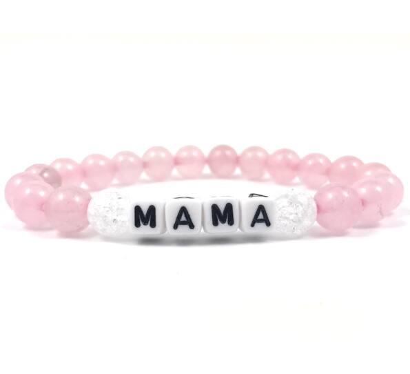 Rózsakvarc Mama feliratú karkötő
