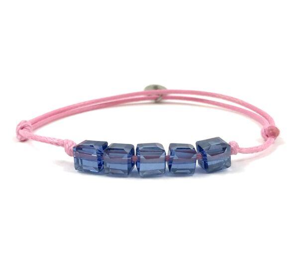 Summer cute kék kockás rózsaszín zsineg karkötő
