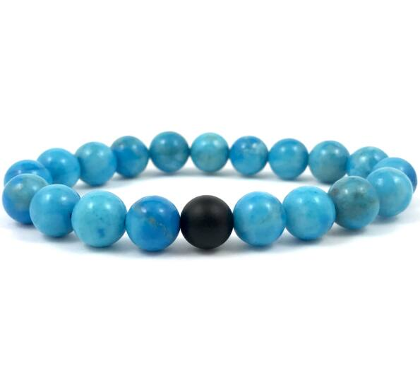 Turquoise and matte onyx fleck bracelet