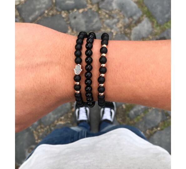 Matte onyx rosegold hamsa bracelet