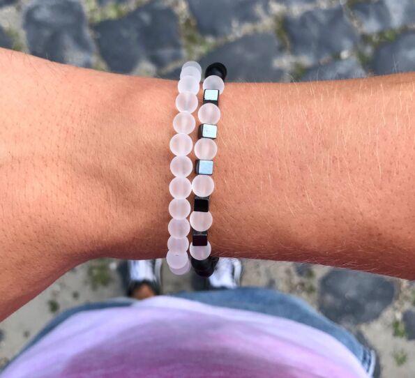 Matte onyx and matte stone bracelet