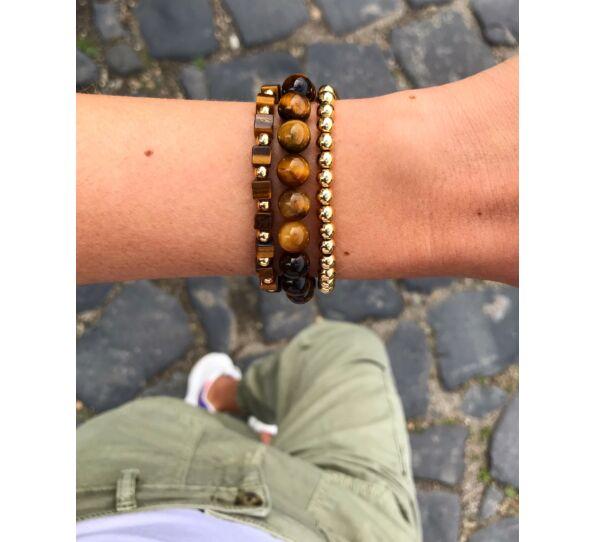 Tiger's eye gold pearl bracelets
