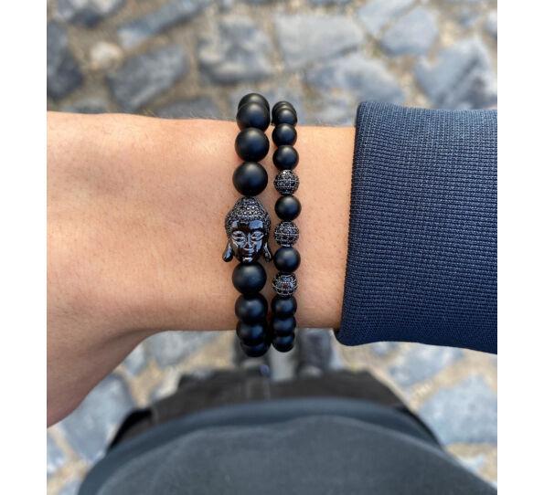 Matte onyx Buddha bracelets